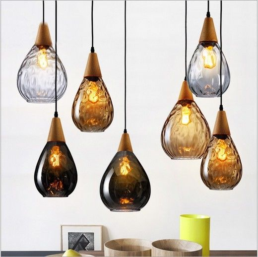Clear/Amber/Smoke Grey Modern Loft Wood Glass Pendant Ceiling Light Lamp Shade Romantic Chandelier