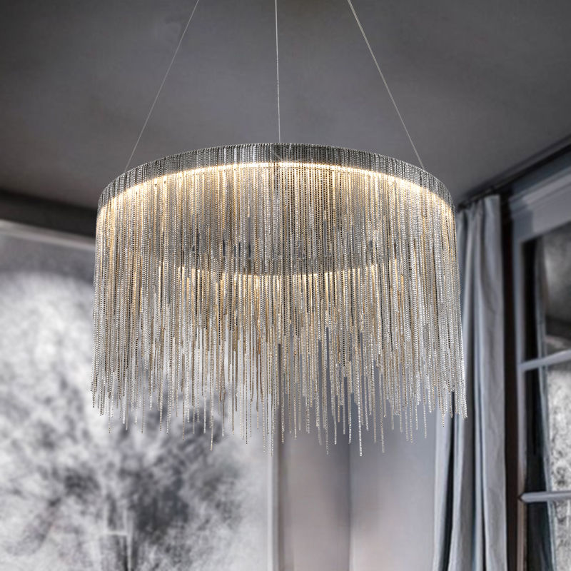 Modern Round LED Iron Chain Waterfall Tassel Chandelier Can Be Customized