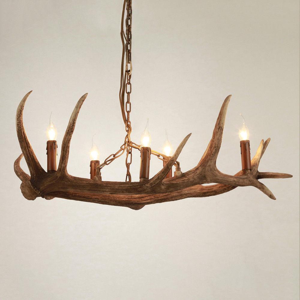 Rustic Resin & Metal 5 Candle Lights Pendant Light Ceiling Lamp Chandelier