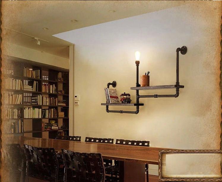 Loft Water Pipe Shelf Wall Light Bookshelf Lamp Room Vintage Industry Iron