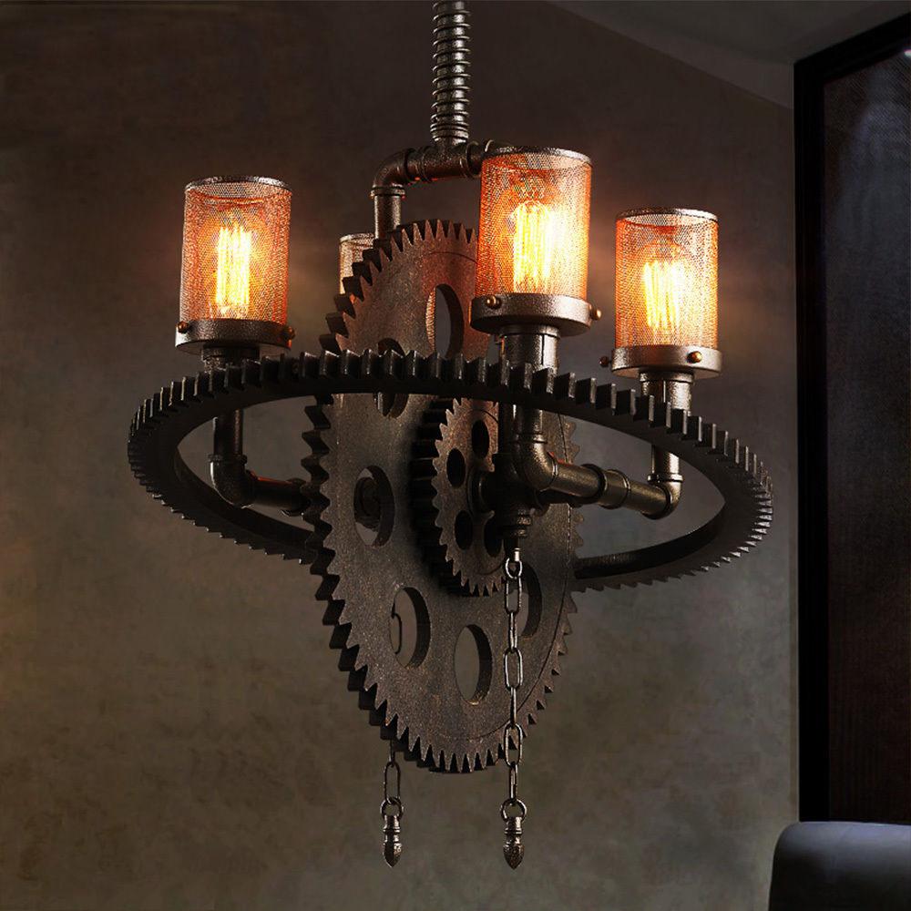 Loft Industrial Metal E27/E26 Edison Gear Chandelier Iron Pendant Light Cafe Lamp