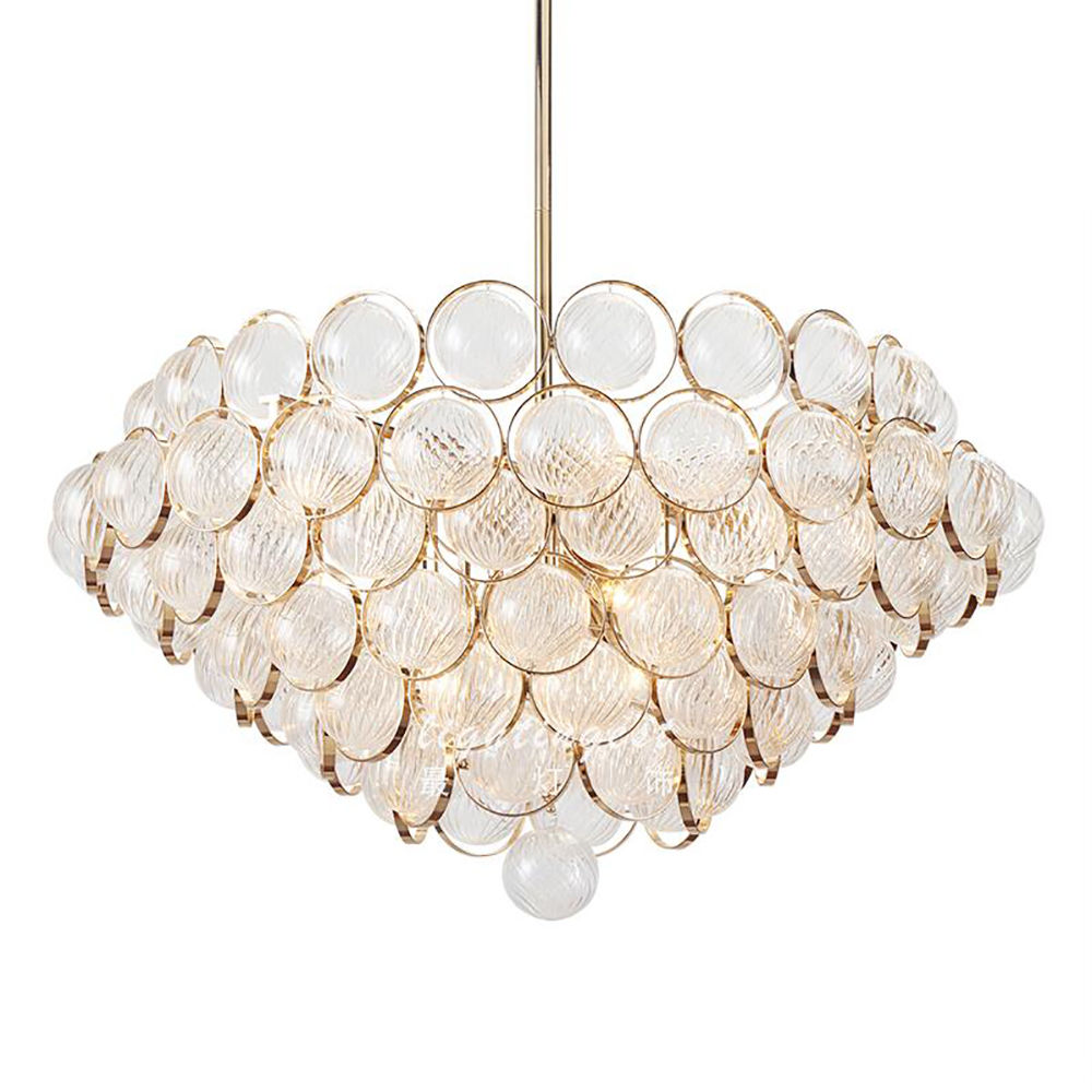 28/33 Inches Art Conical Glass Ball Chandelier Metal Decor Living Room Lighting