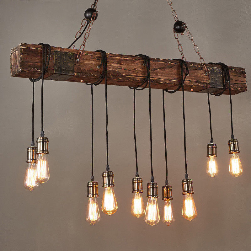 Rustic Style Dark Wood Beam Large Linear Island Pendant Ceiling Lighting
