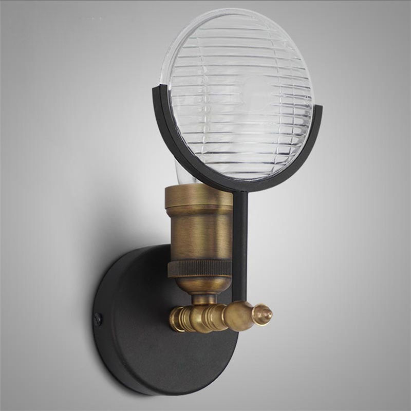 Industry Glass Wall Sconces Retro Metal Beside Lamp Wall Fixture Lighting