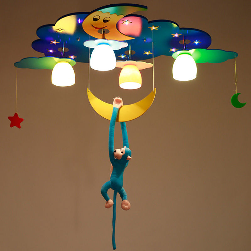 Modern Cartoon Ceiling Light Kids Bedroom Monkey Moon Star Flush Mount