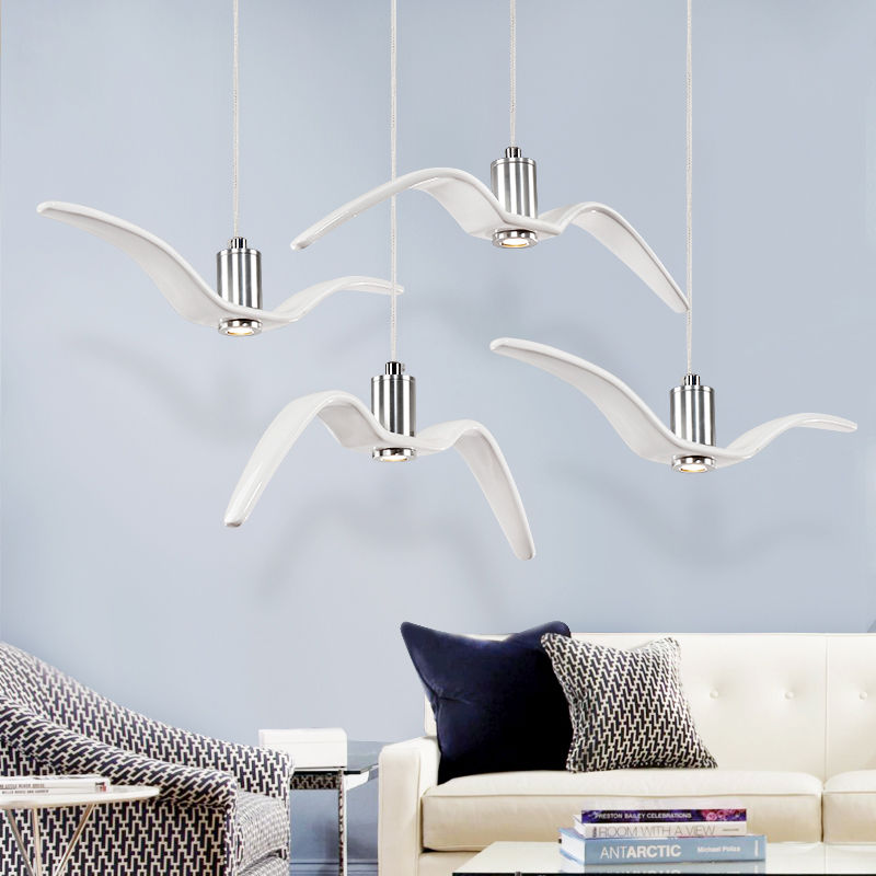 Modern Simple Bird Ceiling Lamp LED Pendant Light White Chrome