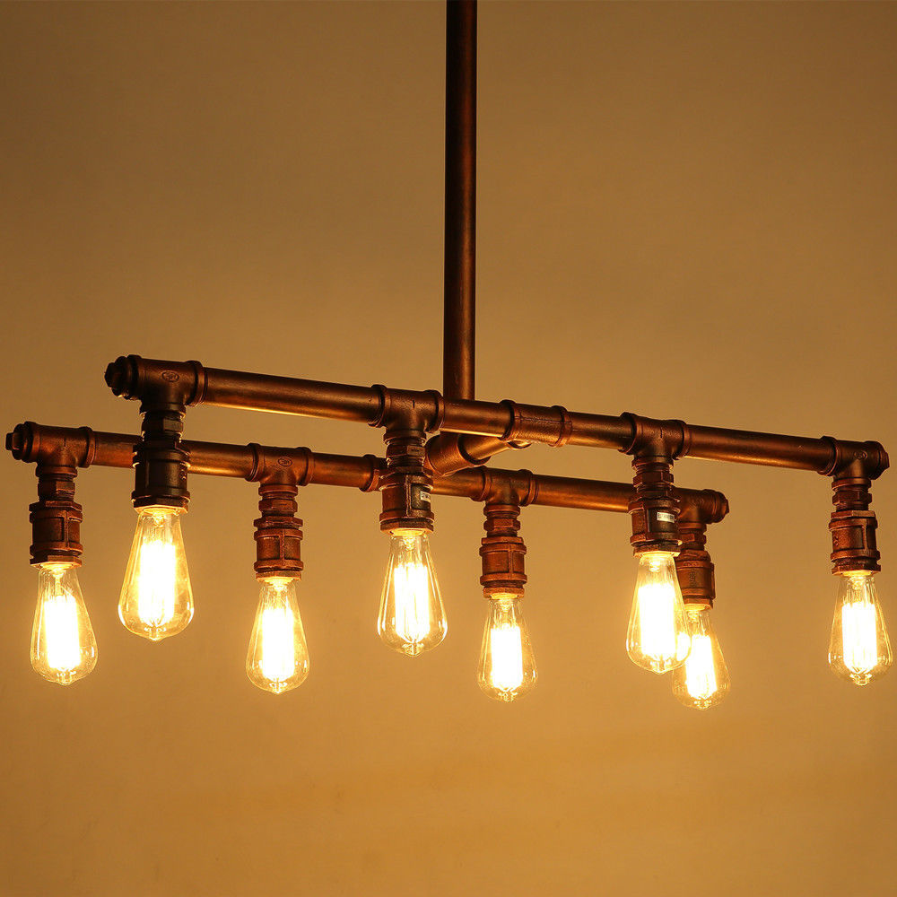 8-Light Industrial Pipe Pendant Lighting Vintage Ceiling Light Fixture