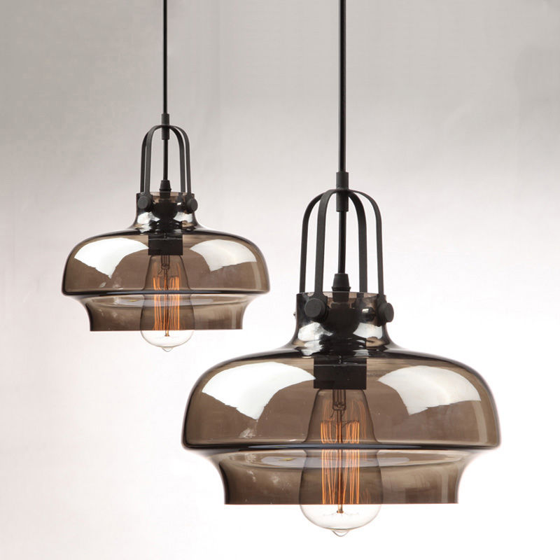 Amber/Smokey Gray Modern Industrial Glass Lampshade Pendant Light Retro Ceiling Hanging Fixtures