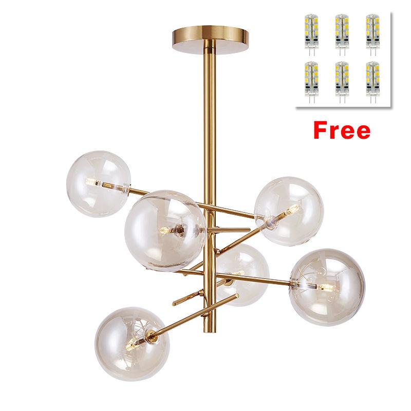 Modern 6 Glass Globes Chandelier Pendant Light Lamp Industrial Ceiling Fixtures Golden