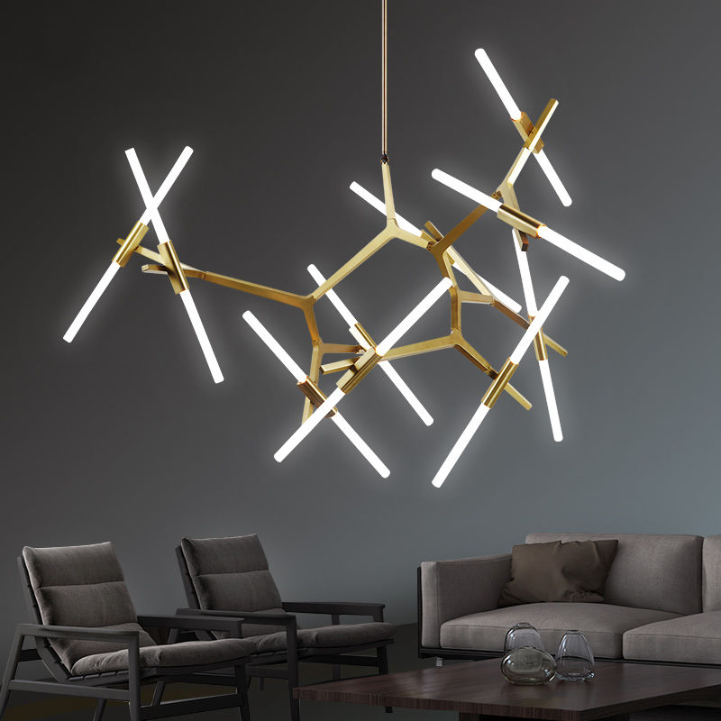 Modern Glass Branch Chandelier Metal Pendant Light Industrial Ceiling Fixtures Black/Gold