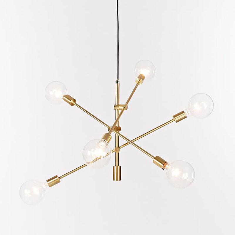 Modern Metal Chandelier Pendant Lighting Industrial 6 Lights Hanging Fixture Gold/Black