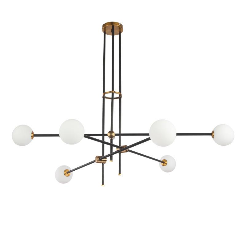 Modern 4/6/12 Lights Metal Glass Chandelier Industrial Pendant Ceiling Light Lamp