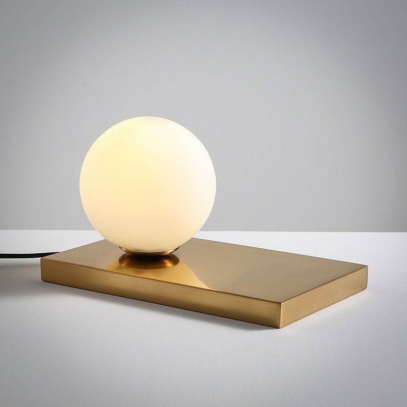 Modern Glass Globe Holder Lampshade Metal Table Lamp Night Lights Desk Lighting