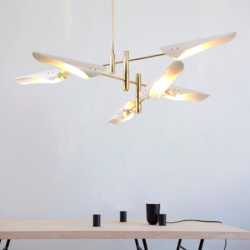 Modern 4/6 Lights Chandeliers Pendant Light Industrial Metal Ceiling Fixtures Gold+Black/White