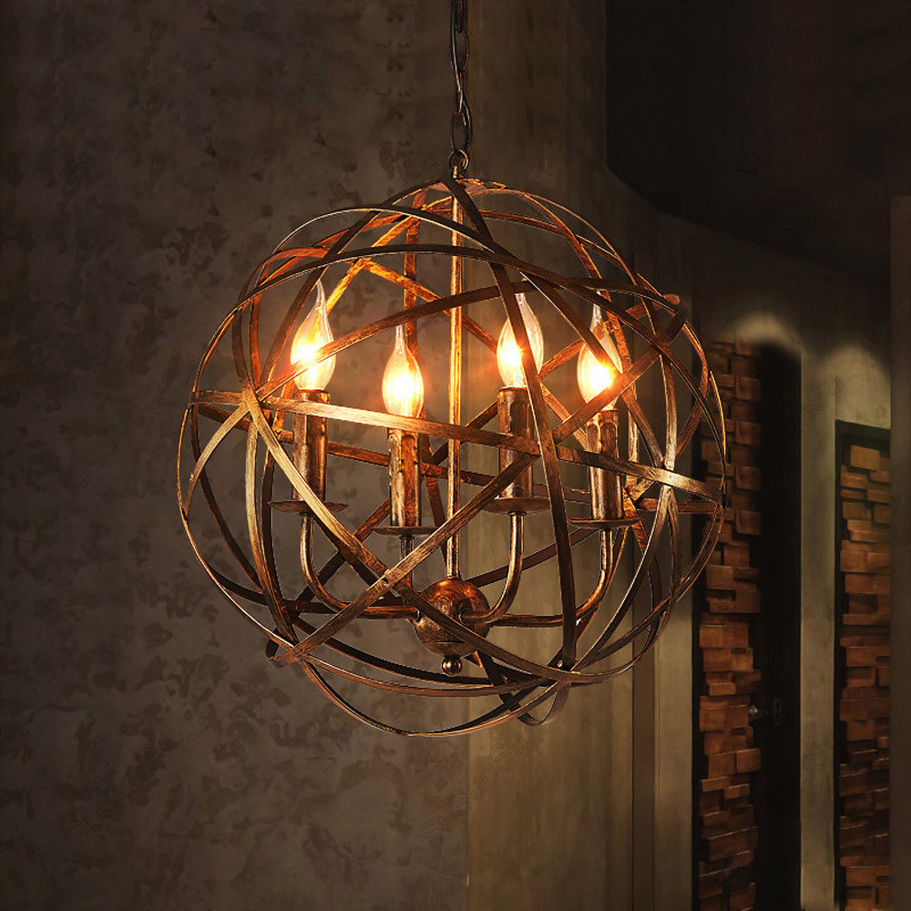 Industrial 4-Light Metal Cage Pendant Lamp Hanging Ceiling Fixture