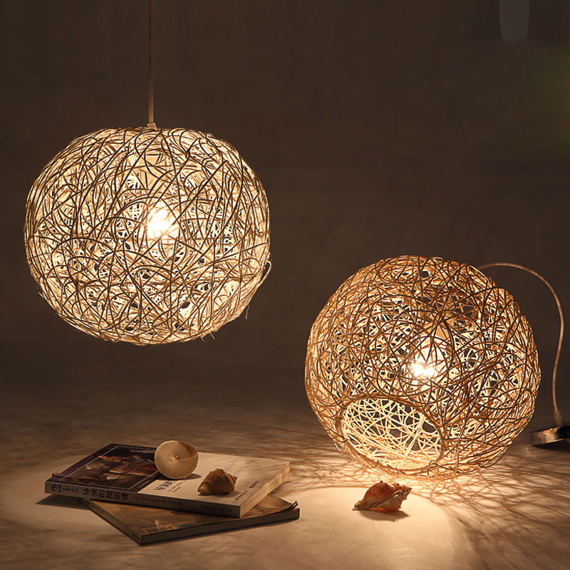 3 Sizes Beige/Brown Retro Rattan Ball Modern Pendant Light