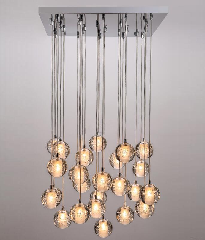 26 Heads Modern Crystal Glassc Ball Meteor Shower Chandelier Lamp Pendant Light