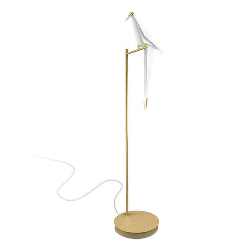 LED Iron Art Retro Origami Loft Bird Floor Lamp White + Gold Light