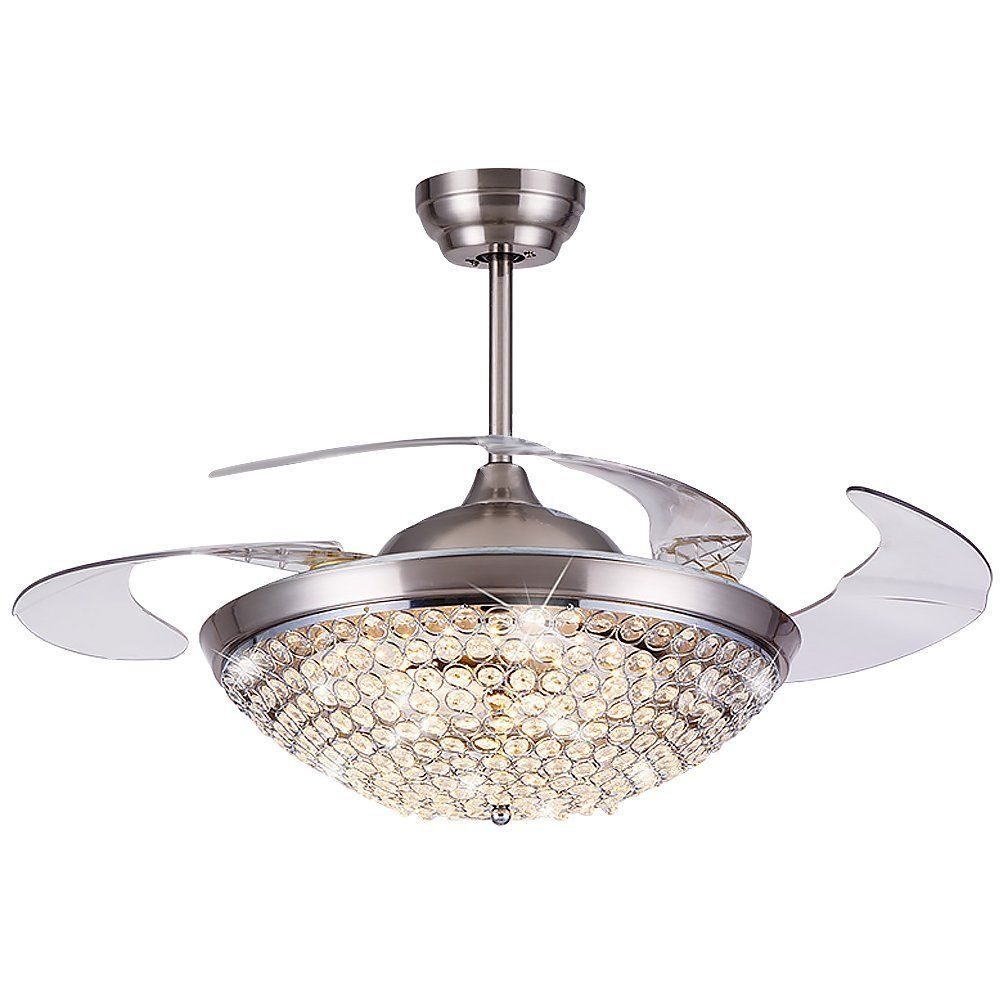 Led Crystal Ceiling Fan Lamp Remote Control Chandelier