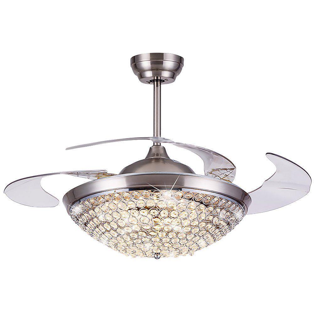 Ceiling Fans Light Fixtures: LED Crystal Ceiling Fan Lamp Remote Control Chandelier
