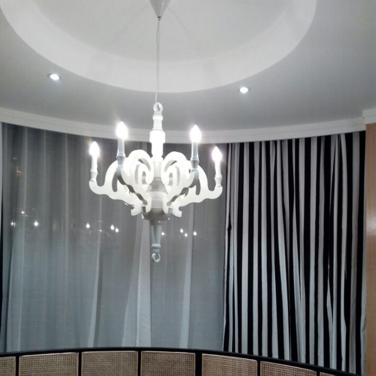 Paper LED Chandelier Ceiling Lamp Wood Black/White