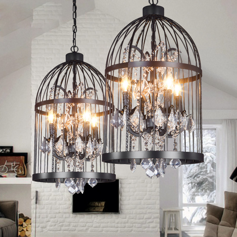 LED Vintage Birdcage Iron Restaurant Villa Crystal Pendant Light