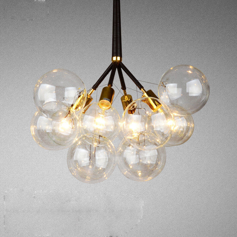 Modern Black Creative Glass Bubble Pendant Fixture Ceiling Light