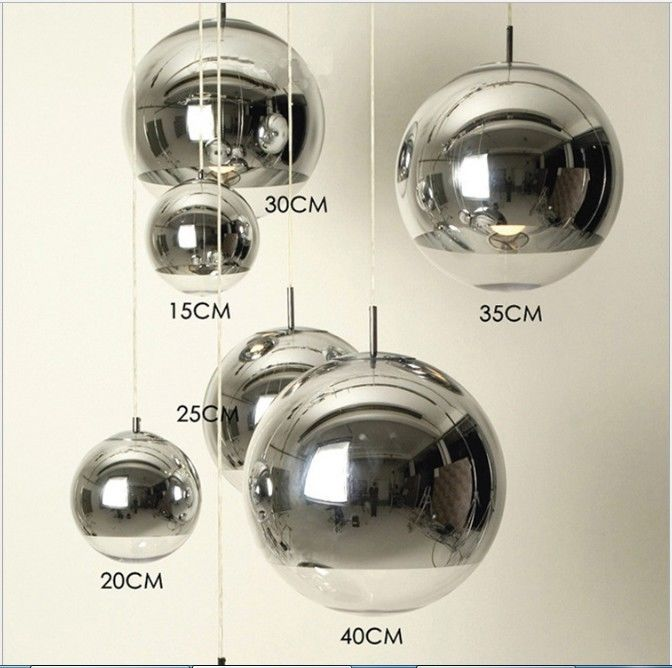 LED Chrome Half Mirror Glass Ball Lamp Shade Tom Dixon Ceiling Pendant Lights
