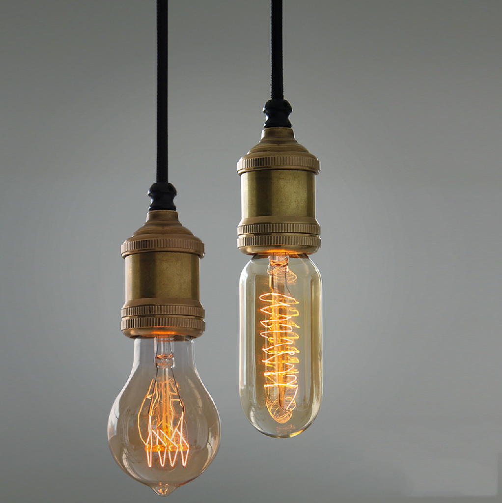 Solitaire Bronze Bare Edison Bulb Pendant Light