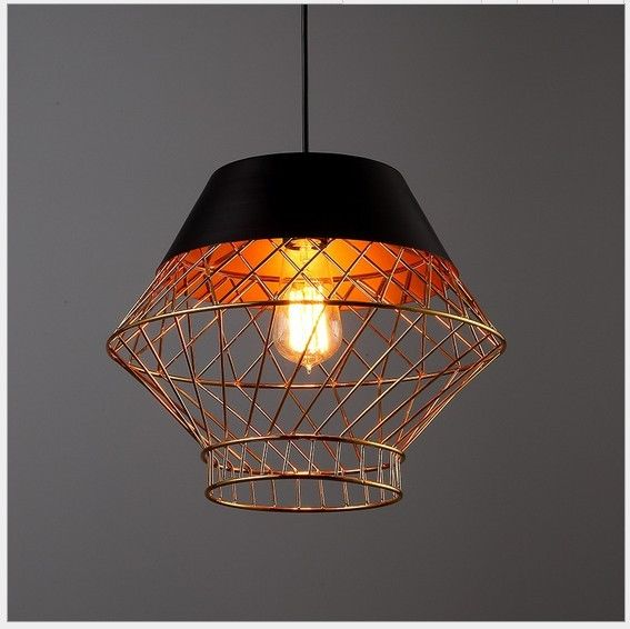 Vintage Industrial Gold Iron Caged Lamp Shade Retro Ceiling Light