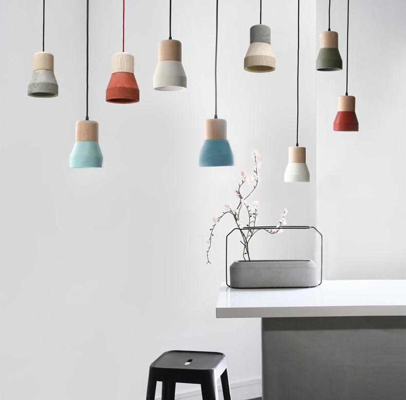 Toro Concrete Wooden Minimalist Pendant Light