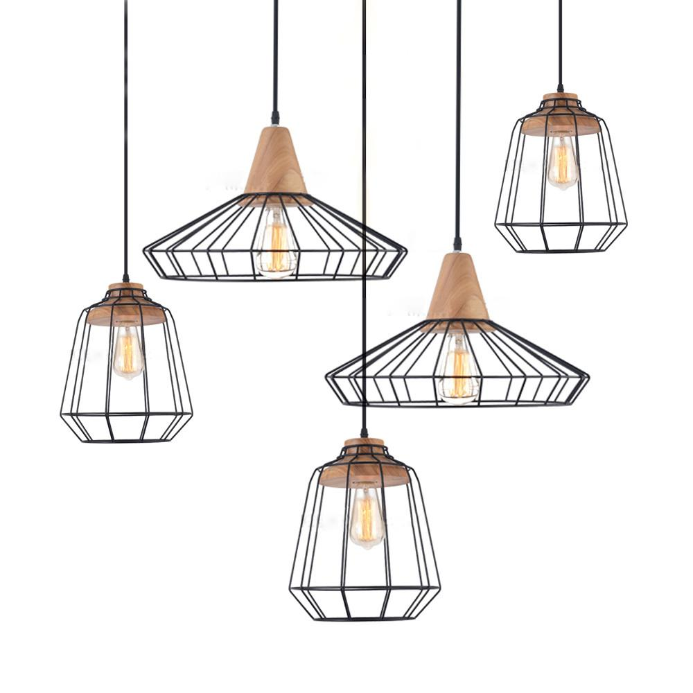 Sangkar Metal Cage Pendant Light With Wood Base Scandinavian Styling Ceiling