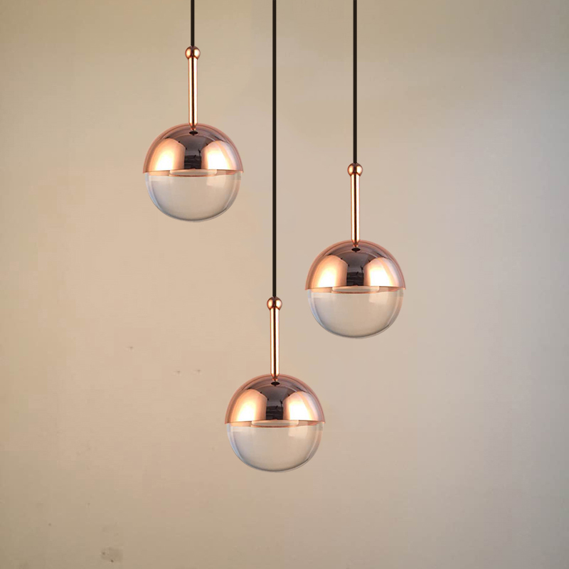 Globe Pendant Light Glass & Metal Shade