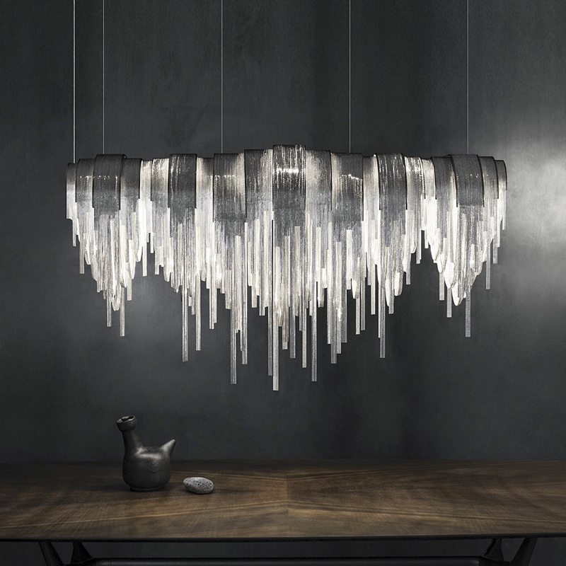 Stainless Steel Tassels Chandelier Light Postmodern Style