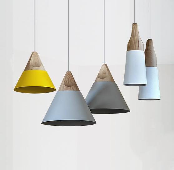 Minimalist Slope Shade Wood Pendant Ceiling Light