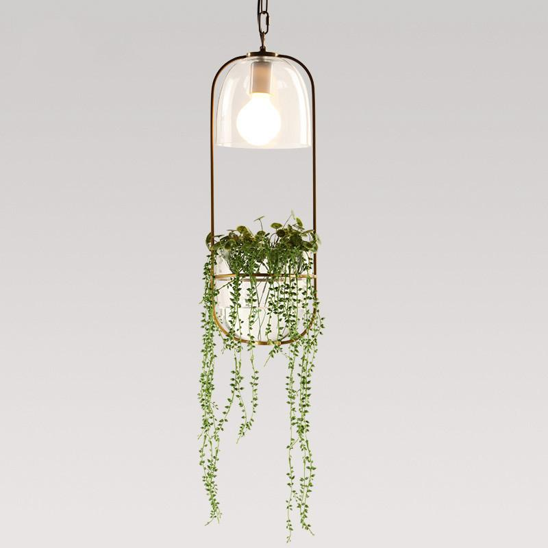 Hanging plant vase pendant light in brass