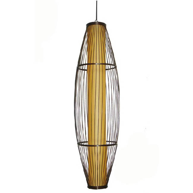 Antique Fabric and Bamboo Pendant Lighting 7539