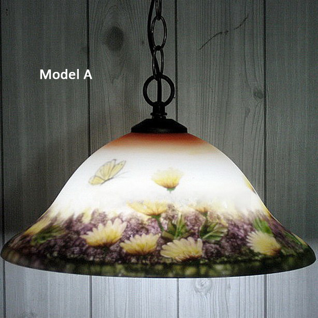 Antique Hand Painted Glass Pendant Lighting