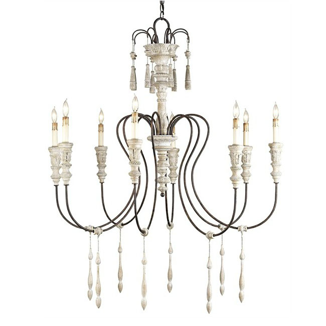 Antique Iron and Wood Candles Chandelier