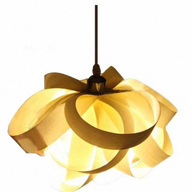 Modern Mahogany/Oak Veneer Pendant Lighting