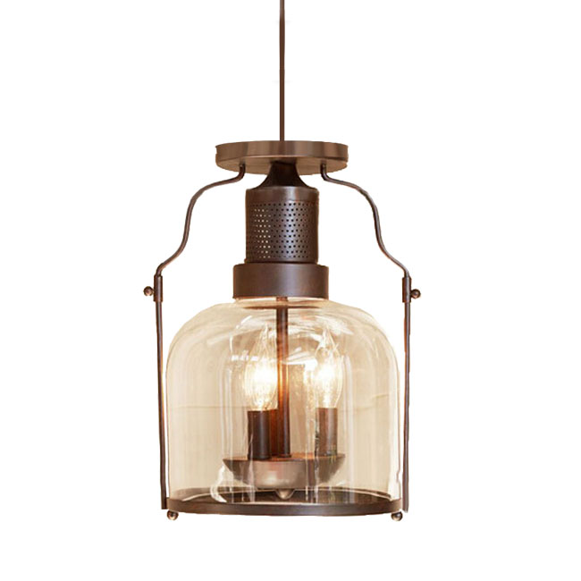 Antique PHX Iron and Clear Glass Pendant Lighting