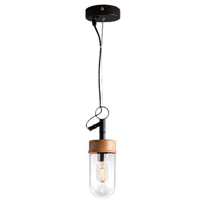 Modern Iron and Wood Cap Glass Shade Pendant Lighting