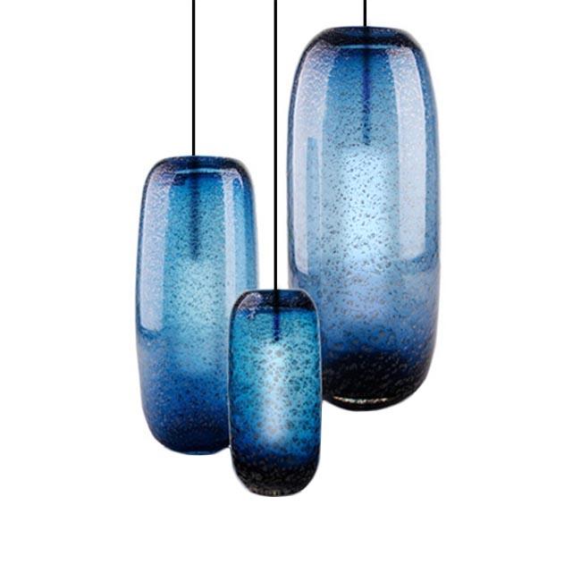 Modern Blown Glass Shade Blue Pendant Lighting