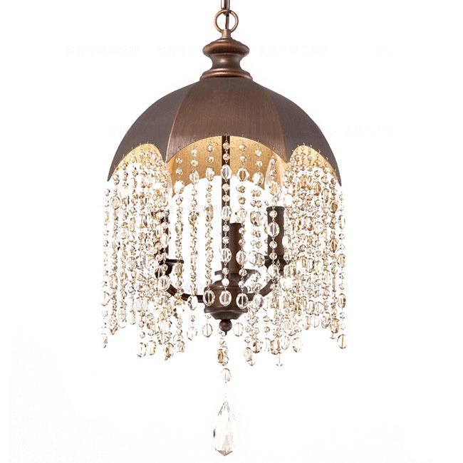 Country Iron Umbrella Crystal Pendant Lighting