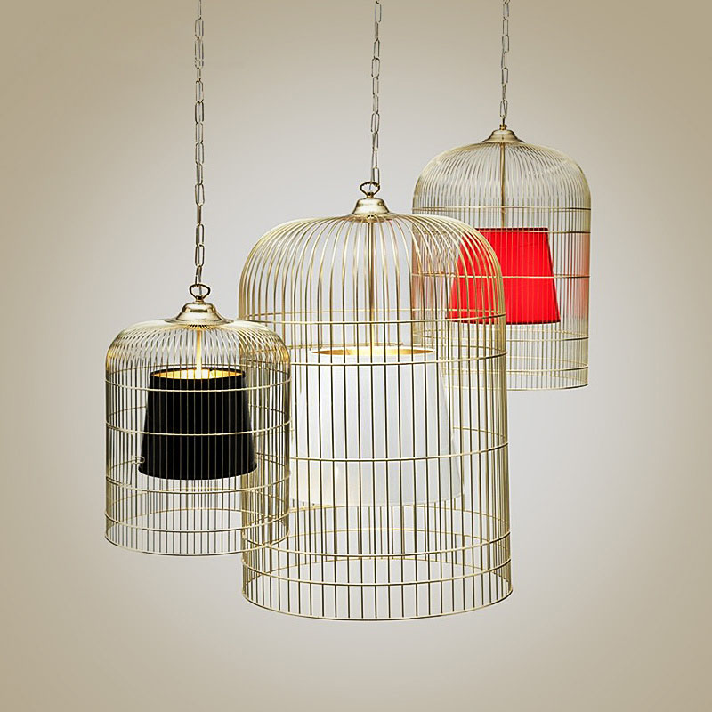 Post Modern Metal Birdcage And Fabric Shade Pendant Lighting 120