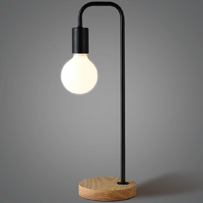 Simple Country Wood And Iron Table Lamp