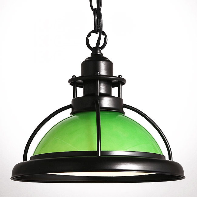 Modern Industrial Glass and Iron Shade Pendant Lighting