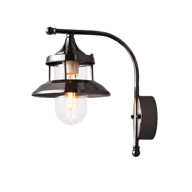 PHX Plating Industrial Iron and Glass Shade Wall Sconce
