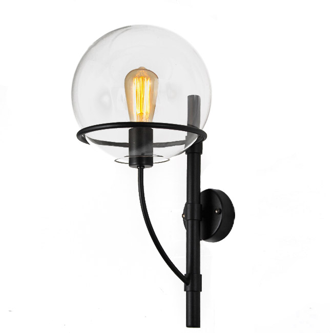 Industrial Iron and Global Glass Ball Wall Sconce