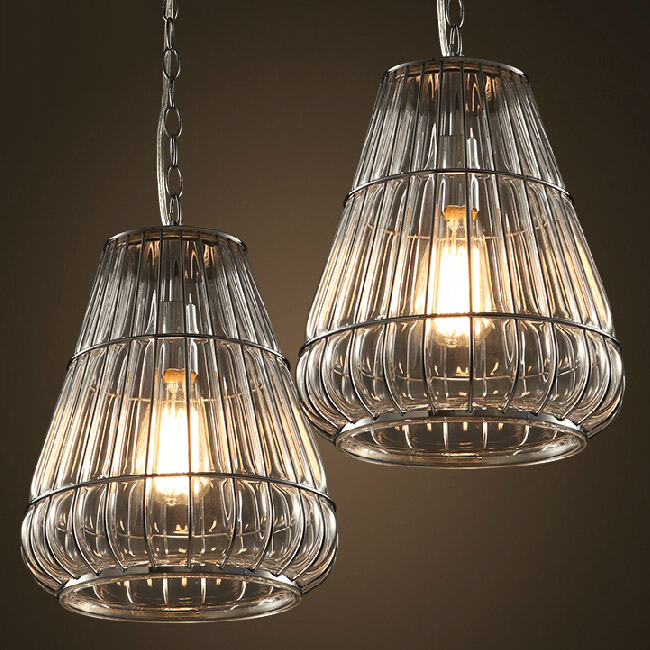 Antique LOFT Blown Glass and Iron Line Pendant Lighting